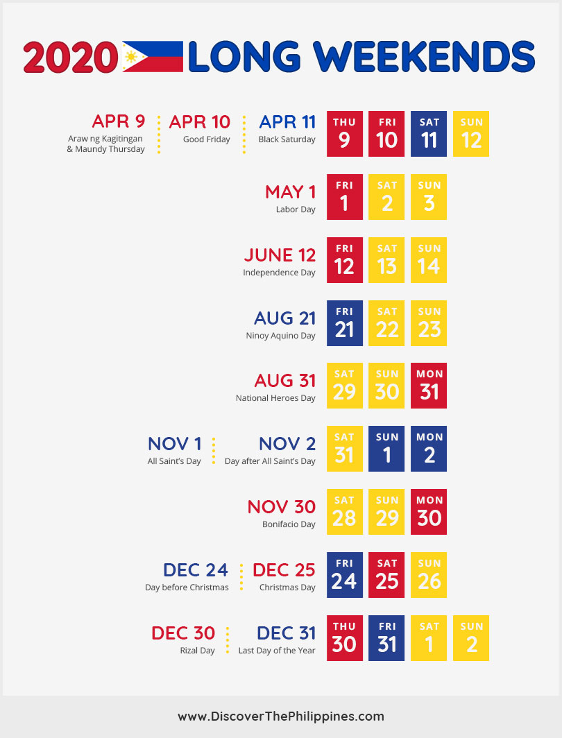 2020 Philippines Long Weekends